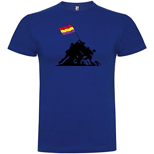 Camiseta Catalunya Iwo Jima Republicana Manga Corta Hombre Azul Royal XL