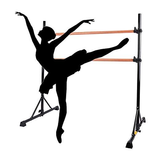HIRAM Barre Ballettstange Höhenverstellbar Ballet-Bar Freistehend Tanzstange Stretch Barre Doppelte Stange Turnhallenstange für das professionelle Tanz- und Bewegungstraining (Schwarz)