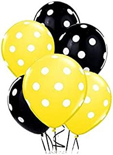 Sopeace 12 Inch Latex Balloons with White Polka Dots, Yellow & Black