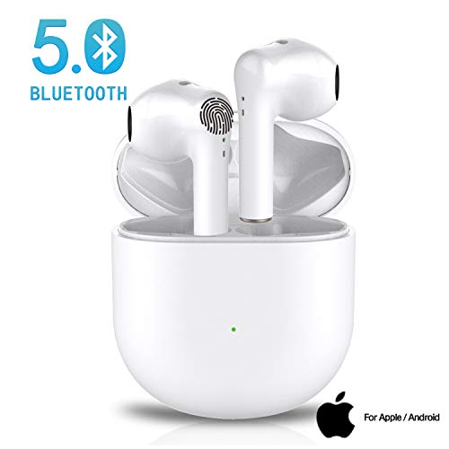 Wireless Earbuds Bluetooth 5.0 Headphones with 24H Charging Case,3D Stereo IPX5 Waterproof Sports Earphones Built-in Mic in-Ear Ear Buds with Surround Sound for iPhone/Android/Apple airpods