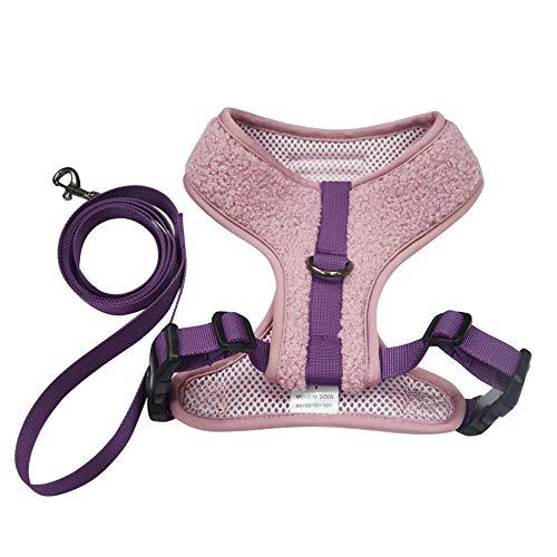 BLEVET Soft Adjustable Gepolsterter Hundegeschirr Brustgeschirre für Kleinen Hund oder Katze MZ092 (XL, Purple)
