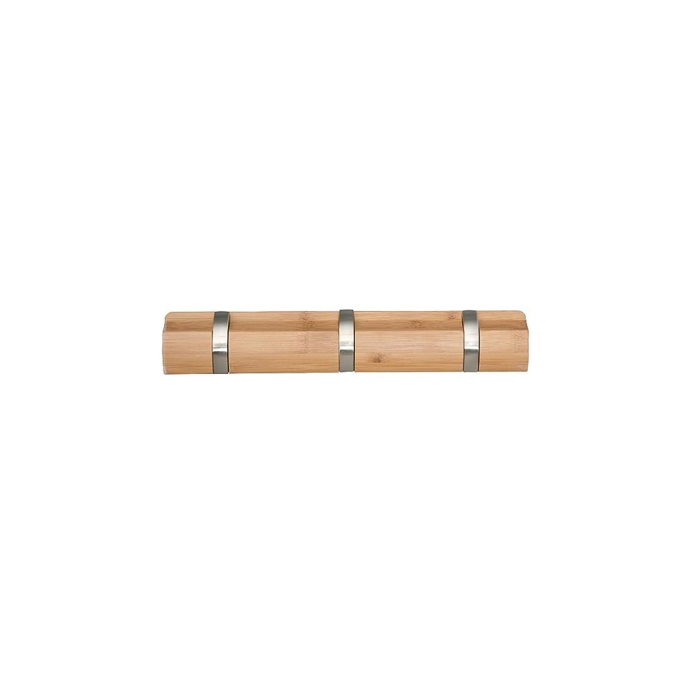 排除する肝小道具ドウシシャ 壁掛けフック ウォールハンガー3連  省スペース  ナチュラル 幅33.5×奥行2.5-5.2×高さ5.8cm W3HOOK-NA