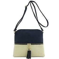 Lightweight Color-block Medium Crossbody Bag with Tassel (Navy/Beige)