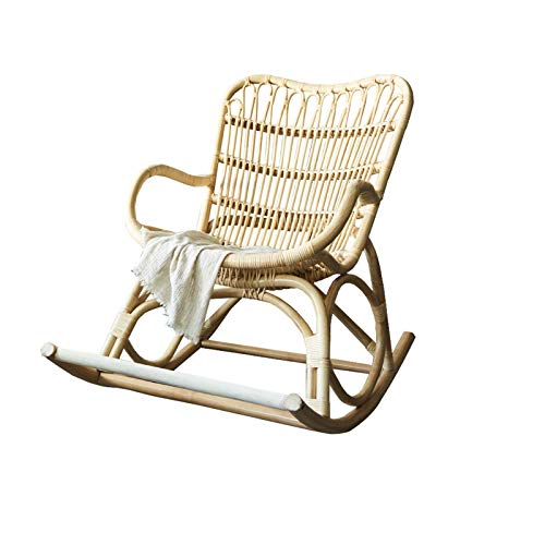 HQQ Ratán Mecedora Mecedora Silla reclinable Silla reclinable Silla de sofá Perezoso, nórdico, propicio al jardín de la Sala de Estar del balcón