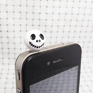 White Black Jack Skellington Skeleton Skull Ghost Dust Plug 3.5mm Phone Accessory iPhone Dust Plug Phone Charm Headphone Jack Earphone Cap Ear Cap Dust Plug (White)