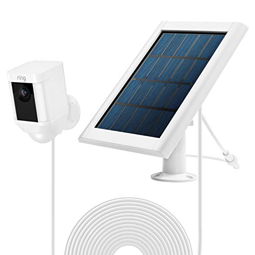 OLAIKE Solar Panel for All-New Stick Up Cam Battery/Spotlight Cam Battery,Waterproof Charge Continuously,5V/3.5W(Max) Output,with Secure Wall Mount & 3.8M/12ft Power Cable(No Include Camera),White-01