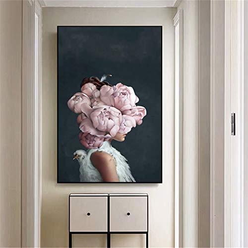 fdgdfgd Cartel Impreso del Arte Mural Floral Abstracto de Las Mujeres decoración del hogar de la Sala de Estar