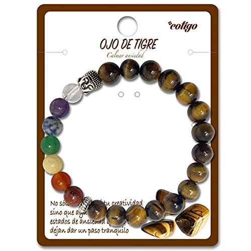 Pulsera de los 7 Chakras Piedras Preciosas Naturales de Ojo de Tigre con Cabeza de Buda Pulsera elastica de curación para Mujer y Hombres Unisex Regalos Cumpleaños (Ojo de Tigre)