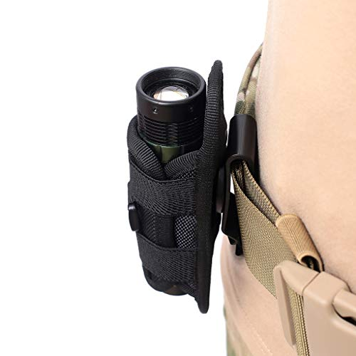 MagiDeal Flashlight Holster for Torch, Heavy Duty Belt Flashlight Holder Nylon Pouch Case with 360 Degrees Rotatable Clip Long Type