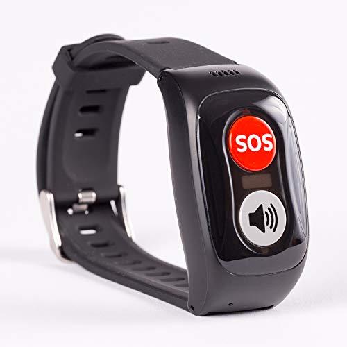 tellimed Carino - GPS Notrufarmband für Senioren, Erwachsene & Kinder - Notruf Armband mit einfacher Bedienung & maximaler Sicherheit - Zuhause & Unterwegs - Notrufknopf, Anruffunktion & SOS Kontakte