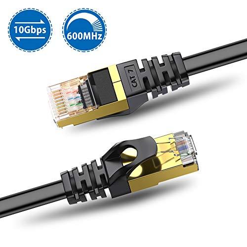 Hanmir Cable de Red Cat 7, Cable de Red Plano, Cable Ethernet Gigabit LAN 10000Mbit/s con Conector RJ45 (10 Gigabit, 600MHz, Cable FTP) para Router, Ordenador, Módem, TV etc- Negro (3m)