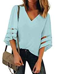 "Size Small fits bust 33-35"", Medium fits bust 35-37"", Large fits bust 38-40"", X-Large fits bust 41-43"", XX-Large fits bust 42.5-45"". The women casual tops shirt comes with v neck and mesh patchwork design. Blouses for women fashion 2020. Womens v nec..."