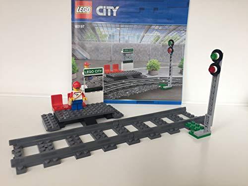 Lego  City - Ferrocarril y señal (incluye 2 rieles rectos de 60197)
