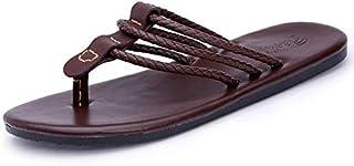 Classics Summer Shoes Men Leather Slippers Quality Leather Sandals for Men Comfortable Flip Flops Men Beach Sandals (Color : Brown, Shoe Size : 9)