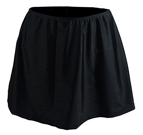 Cocoship Black Women's Plus Size Solid Elegant A-line Skirted Bikini Bottom Skirt Swimdress 22(FBA)