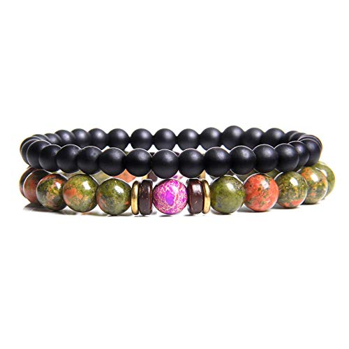 Beaded Bracelet,2Pcs Natural Handmade Unisex Black Agate Stone Set Fashion Couple Bracelets Bangles Classic Natural Lava Stones Charm 8Mm Beads Bracelet Women Men Gift(Grass Green)