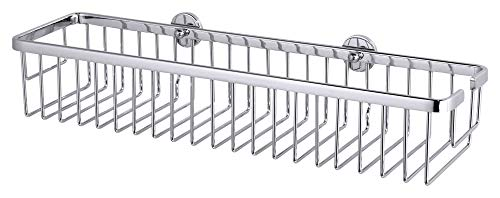 tesa ALUXX Duschkorb ohne Bohren, extra breit (45cm), Aluminium, verchromt, rostfrei, inkl. Klebelösung, 92mm x 450mm x 125mm