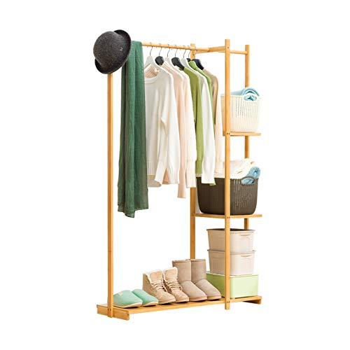 Yimaojia Chunlan Perchero Simple Percha De Bambú para El Piso del Dormitorio con Capa De Almacenamiento Almacenamiento por Niveles 100X30X155CM