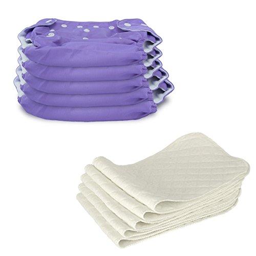 5 Stück Wiederverwendbare Waschbare Verstellbar Babywindeln Baby Windelhose Baby-Tuch-Windel Weicher Stoff, Größe Verstellbar (Lila)