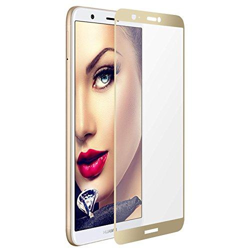mtb more energy® Gerahmtes Premium Schutzglas für Huawei P smart/Enjoy 7S (5.65'') - Gold - Full Face Bildschirm Tempered Glas-Schutzfolie