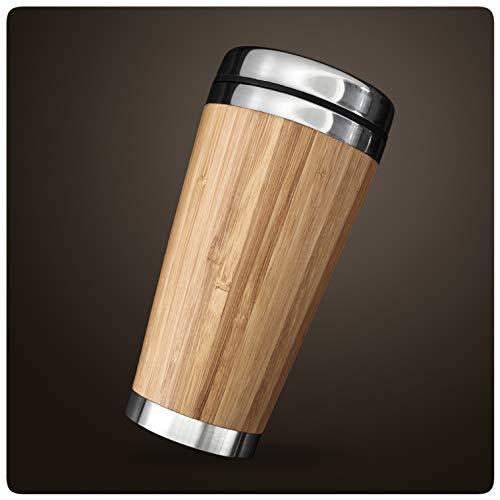 PRECORN Coffee to go Becher aus Edelstahl in edlem Design umweltfreundlich stylischer Bambus Kaffeebecher 450 ml doppelwandig