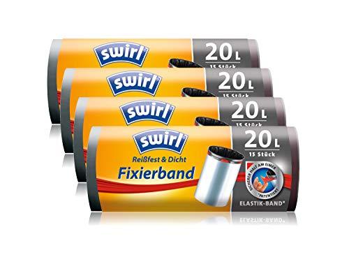 Borse Swirl 4 pezzi trash con fascetta di fissaggio, 20 litri, 15 pezzi per rullo, bianco