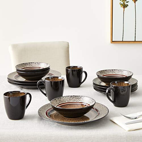 American Atelier Markham Square Casual Round Dinnerware Set – 16-Piece Stoneware Party Collection w/ 4 Dinner Salad Plates, 4 Bowls & 4 Mugs – Unique Gift Idea, 11x11x4, Brown