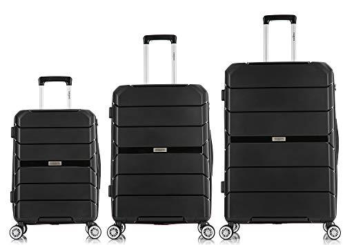 TORRENTE - Maleta de viaje con ruedas giratorias, juego de 3 maletas rígidas, varios colores a elegir Negro Negro  SML