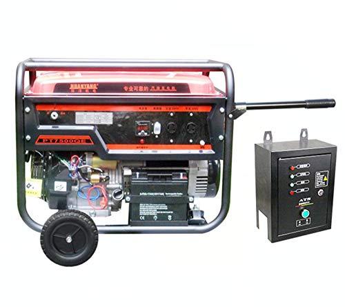 qiwangsheng Generador Electrico Portatil Generador para Camping Gasolina Hogar Multicombustible Pequeño-Tirador Manual De 6Kw + Tecla De Arranque (Gasolina)