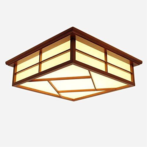 KAIRRY Deckenleuchten Deckenlampe Red Wood Color LED Lamp Massivholz Tatami Lampen Japanische Wohnzimmer Lampen Schlafzimmer Balkon Protokolle Deckenleuchte (Color : Warmes Licht, Größe : 55CM)