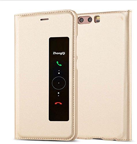 GOGODOG Huawei P10 Funda Inteligente Ventana Ver Ultra Delgado Dar la Vuelta Auto Dormir/Despertar Multi-función Protector Cubrir para P10 (5.1 Pulgadas) (Oro)