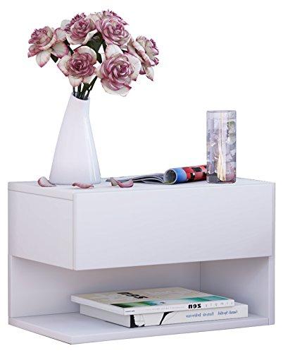 VCM Wandschublade Hängeschrank Wandregal mit Schublade Wandablage Dielenschrank Weiß 30x46x30 cm Klado