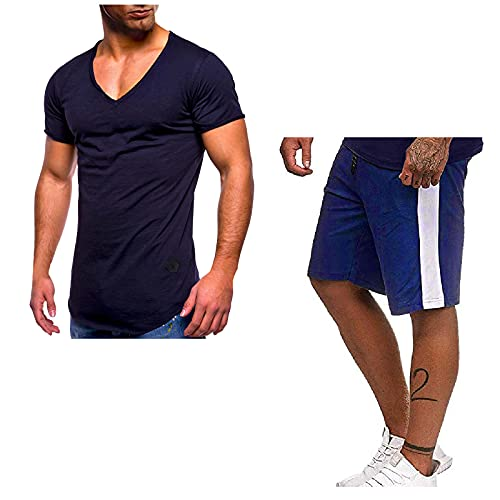 Shorts Outfit 2 Piece Set for Men Short Sleeve Shirts Drawstring Pants Running Fast Drying Workout Activewear Tracksuit