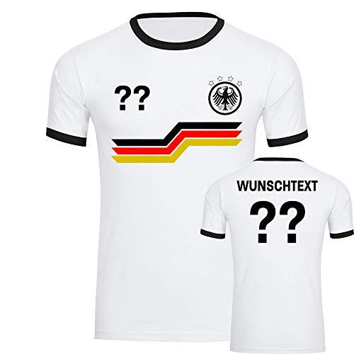 Multifanshop T-Shirt Deutschland Adler Trikot Bunte Balken mit Wunschtext & Wunschzahl Herren weiß/schwarz Gr. S - 3XL - Fanshirt Fanartikel Fußball EM WM,Größe:XL