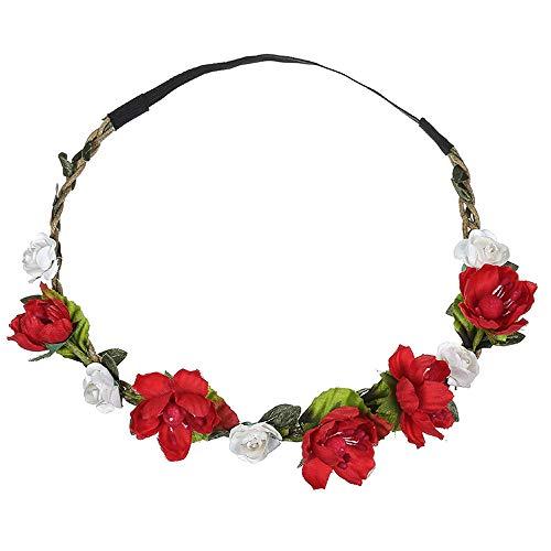 Dorical Stirnband Blumen, 1 Stück Stirnbänder Krone Haarband Kopfband Blume Haarbänder mit Elastischem Band für Hochzeit und Party Haarbänder Band für Frauen Mädchen Mehrfarbig Blume(Rot)