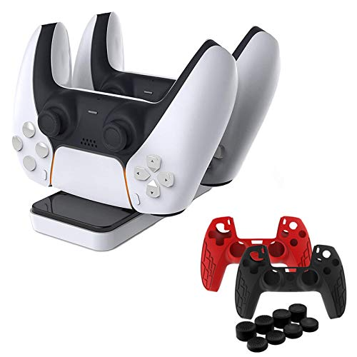 PS5 Controller Charger & Silicone Cover Set, Playstation 5 Gamepad...
