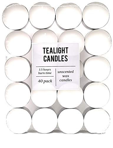 LaVonk pack of 40, Tea Light Candles With 3.5Hrs Burn Time, Unscented Fewer Fumes and Clean Burn
