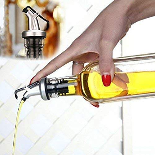 BRKURLEG 5 x Flaschenausgießer mit Klappe, Spirituosen-Ausgießer dosierer Weinausgießer Metallkläppchen für Wein Schnaps Olivenöl Kaffee Sirup Essig Flaschen Kunststoffkorken Öl-Ausgießer