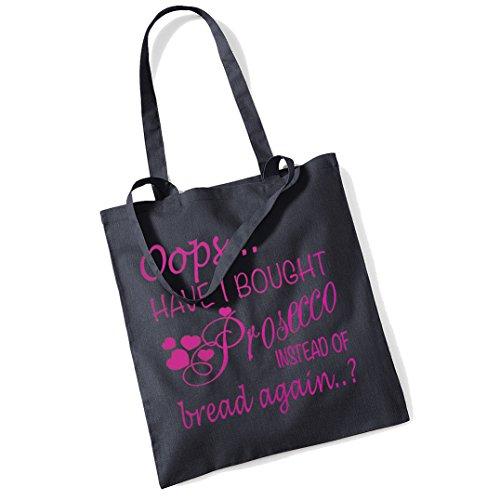 Oops Prosecco Einkaufstasche, Tasche Gr. Einheitsgröße, Black + Pink