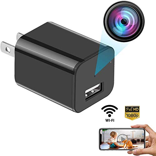 USB Charger Camera WiFi Camera Night Vision - Motion Detection Nanny Camera - Loop Recording Security Camera for Home Surveillance - Video Recorder Real-Time - HD 1080P-black