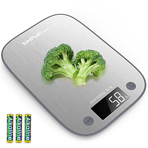 SIMPLETASTE Digital Food Kitchen Scale, Measures in Grams and Ounces for Baking, Cooking, Weight Loss, 304 Stainless Steel
