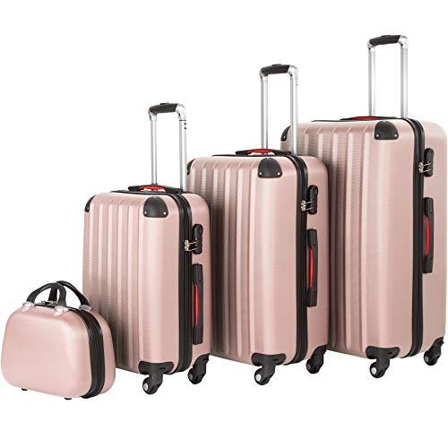 tectake 800763 Set 4 PCS Luggage ABS, Wheeled 360º Suitcases, Hard Shell, Lightweight, Travel Beauty Case, Ergonomic Telescopic Handle