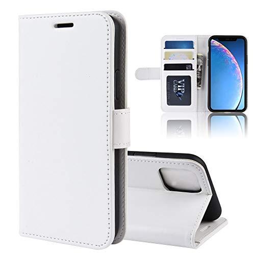 Banaz Texture - Funda de piel para iPhone 11, con tapa, ranuras para tarjetas y cartera, diseño de protección completa (color: blanco)