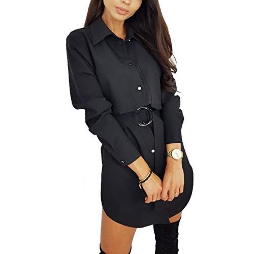 Vestido Camisero de Mujer Vestido de Blusa Manga Larga Cuello de Solapa con Botones Cinturón Casual Elegante (Negro, M)