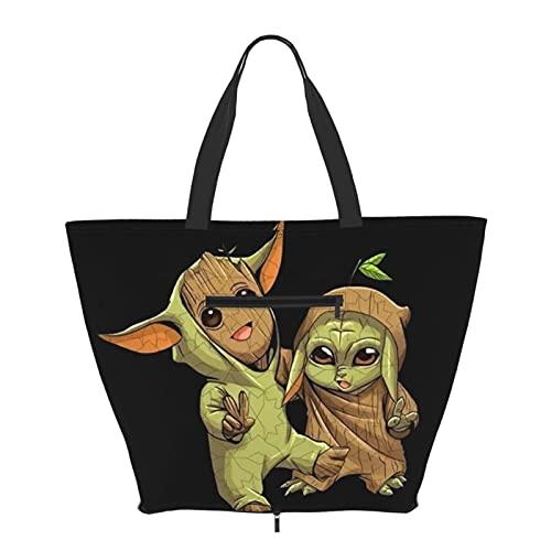 Baby Yoda Groot Bolso de mano con asa de hombro, estilo simplicidad, gran capacidad, bolsa de compras, gimnasio, playa, viajes, diario, unisex, plegable