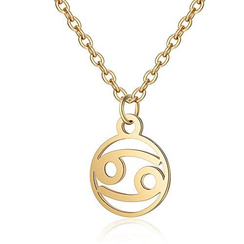 DDDDMMMY Halskette,Krebs Mode 12 Sternbild Schlange Gold Anhänger Mit Halskette Kette Der Frauen Stimmung Tracker