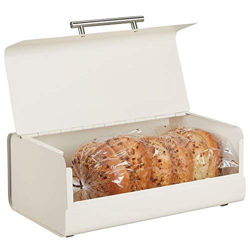 mDesign Panera de metal – Elegante contenedor para pan con estilo vintage – Caja de almacenaje con tapa para guardar productos horneados y mucho más – crema