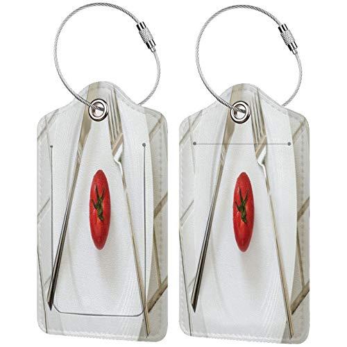 FULIYA Juego de 2 etiquetas de equipaje seguras de alta gama de cuero para maletas, tarjetas de visita o bolsa de identificación de viaje, tomate, gotas, plato, cuchillo, tenedor, minimalismo