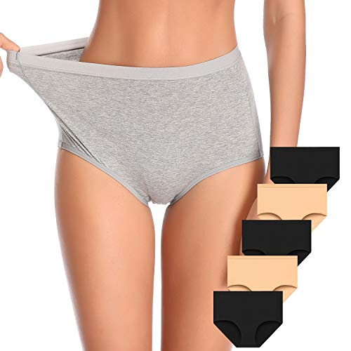 Envlon-Womens-Underwear-High-Waist-Cotton-Underwear-Briefs-Full-Coverage-Breathable-Panties-for-Women