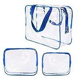 Parshall Bolsa de almacenamiento para artículos de tocador y maquillaje, de PVC, transparente, impermeable, 3 unidades, Blue,